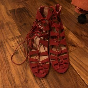 Jeffery Campbell Lace Up Red Pumps